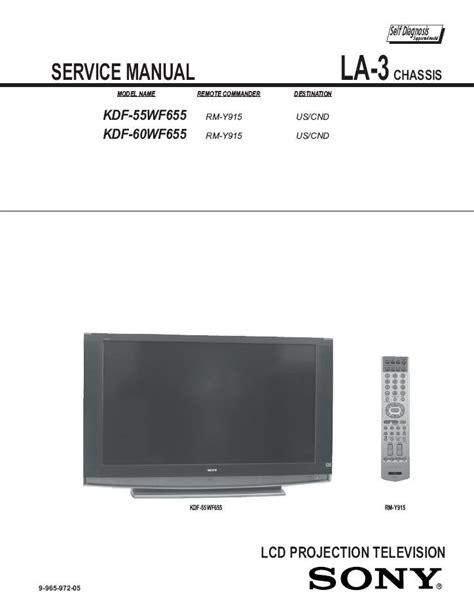 Sony Kdf 55wf655 L by Sony Kdf 55wf655 Kdf 60wf655 Tv Service Repair Manual