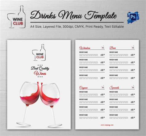 drink menu templates drink menu template 25 free psd eps documents