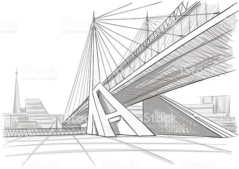 free architectural design architectural drawing of a bridge stock vector