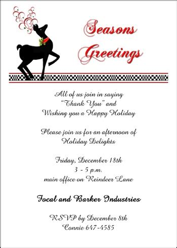 company holiday christmas invitation cards for business