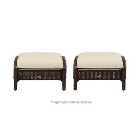 Martha Stewart Ottoman Martha Stewart Living Cedar Island All Weather Wicker Patio Ottoman With Cushion Insert 2 Pack