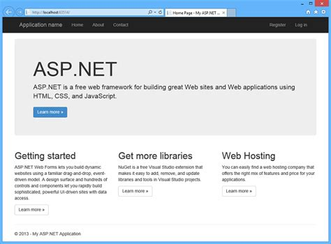 website templates for visual studio 2013 creating asp net web projects in visual studio 2013 the