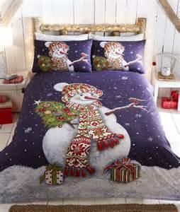 happy snowman christmas duvet quilt cover bedding set ebay