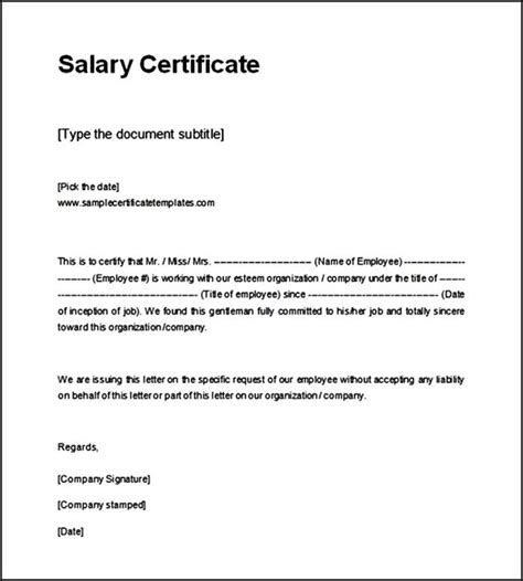 Certificate Of Employment Letter For Domestic Helper Salary Certificate Template Printable Format Sle Templates