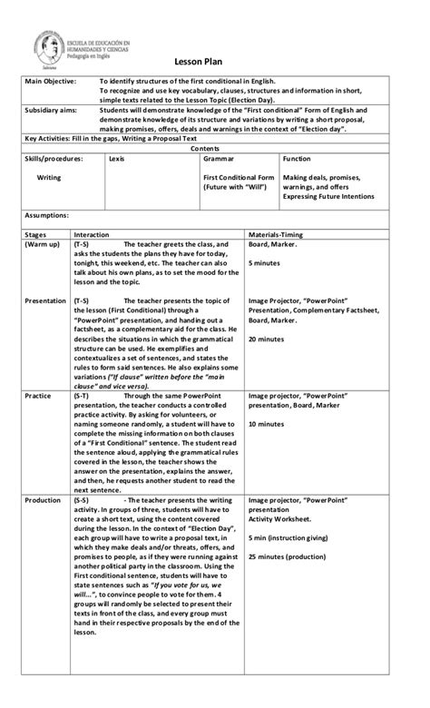lesson plan template secondary conditional lesson plan for secondary level students
