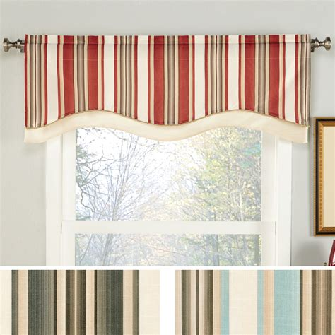 Striped Valances For Windows maxton striped shaped window valance