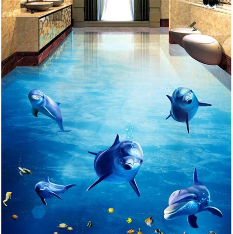 dolphin wallpaper for bathroom 3d pvc floor wallpaper dolphin ocean photo floor wallpaper