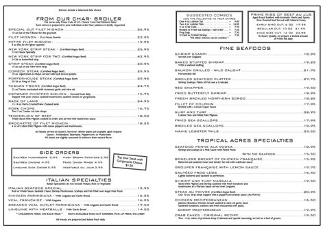steak house menu menu for tropical acres steakhouse 2500 griffin rd