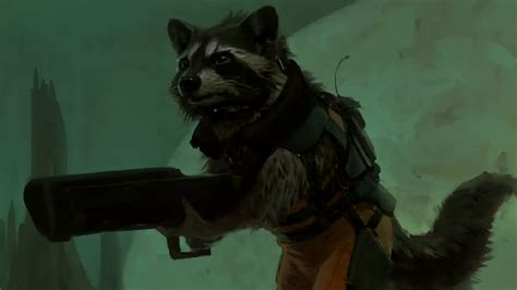 marvel film with raccoon rocket raccoon concept art marvel guardians of the galaxy