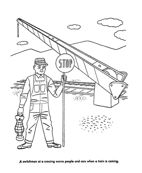 free coloring pages of train crossing