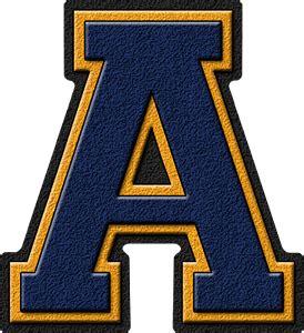 presentation alphabets navy blue gold varsity letter a