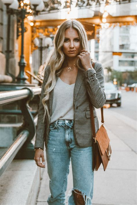 outfit checked blazer  trend piece   fall