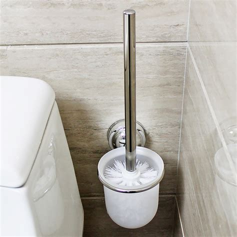 bathroom toilet brushes wall mounted frosted glass toilet cleaning brush holder