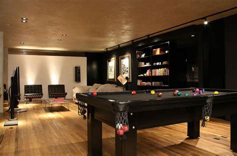 modern bachelor pad living room with pool table