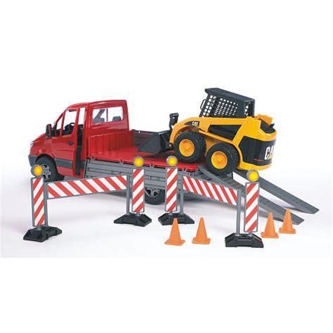 bruder toys mercedes bruder mercedes benz pickup truck with cat skid steer