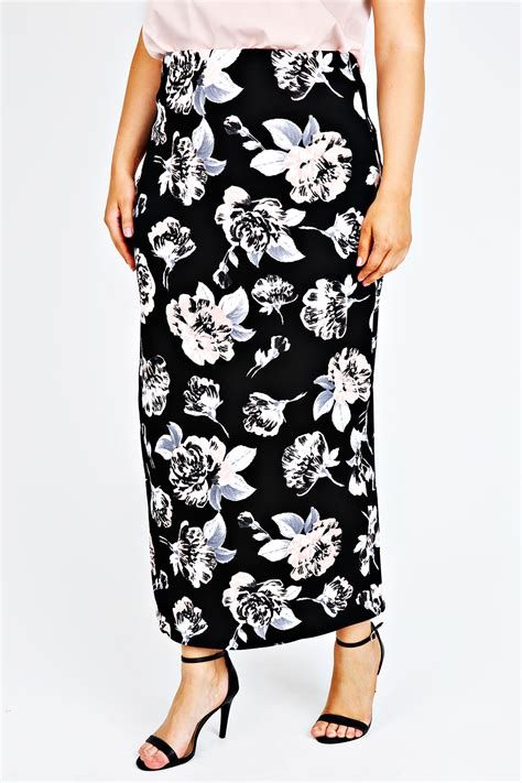 black pink floral maxi skirt with elasticated waist plus