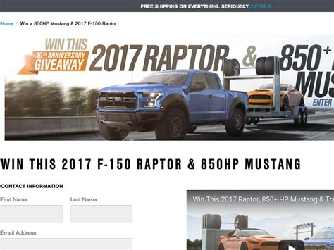Ford Raptor And Mustang Giveaway - 2017 raptor 850 hp mustang giveaway sweepstakes sweepstakes fanatics