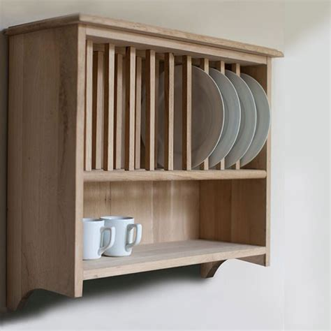 Furniture: Awesome White Cherry Wood Wooden Plate Rack Wall Mounted In Kitchen