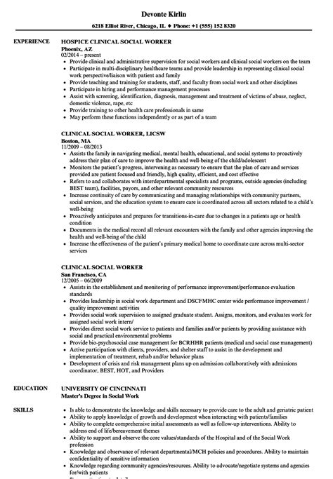 licensed clinical social worker resume exle clinical social worker resume sles velvet