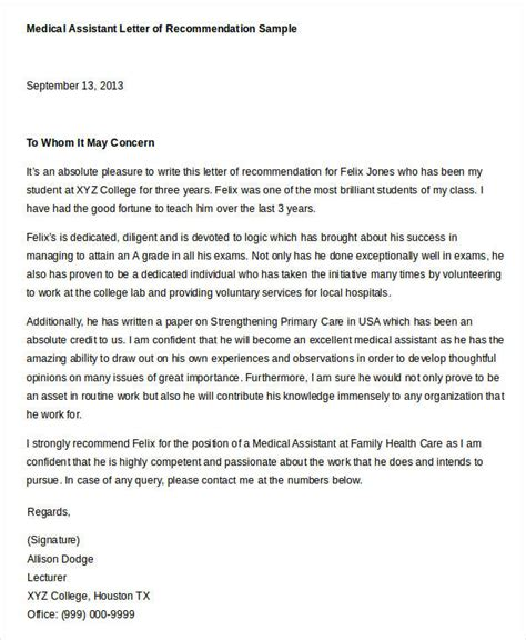 Letter Of Recommendation Physician Assistant physician recommendation letter sle recommendation