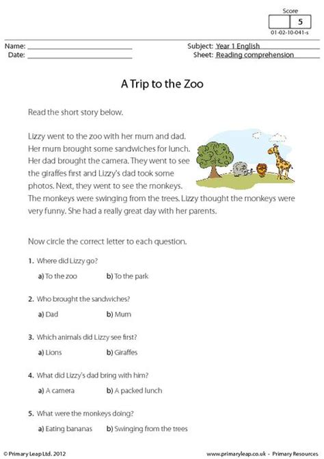 reading comprehension test year 1 reading comprehension a trip to the zoo primaryleap co uk