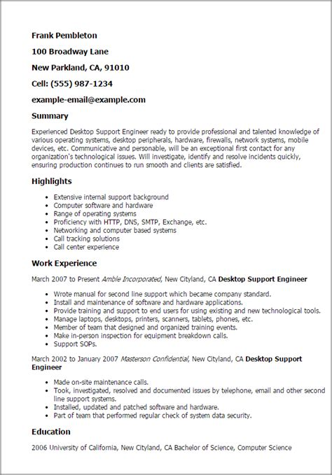 Desktop Support Resume Professional Desktop Support Engineer Templates To