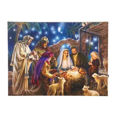 nativity bunny led fibre optic lighted nativity canvas by collections etc ebay