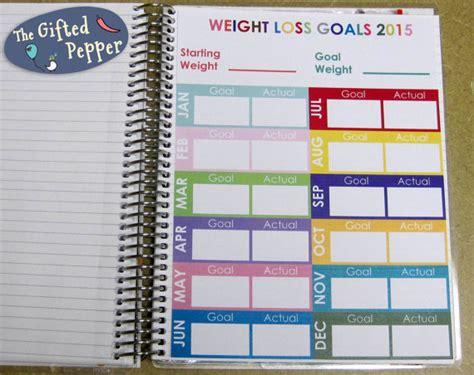 weight loss goals template annual weight tracker erin condren planner stickers or