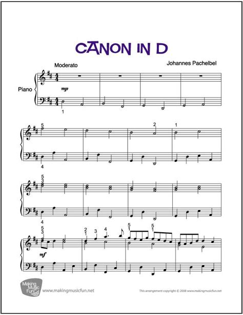 tutorial piano canon canon in d sheet music for piano digital print free