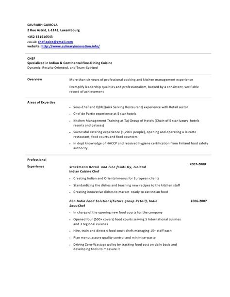 sle of resume for demi chef de partie chef de partie exemple cv