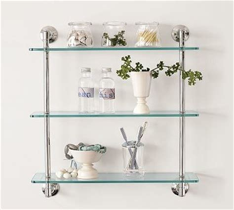 pottery barn bathroom shelves mercer triple glass shelf polished nickel finish