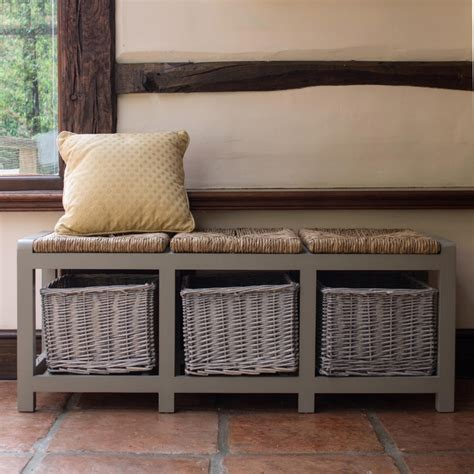 hall storage bench with baskets tetbury white bench with storage baskets hallway hanging