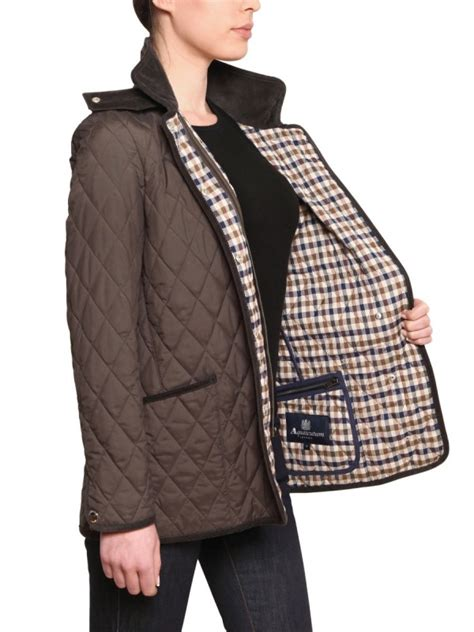 Jaket Hushkies lyst aquascutum waxed quilted husky jacket in brown