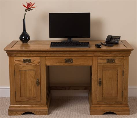 Computer Desk Large Rustic Solid Oak Wood Large Computer Desk Office Studio Unit Furniture