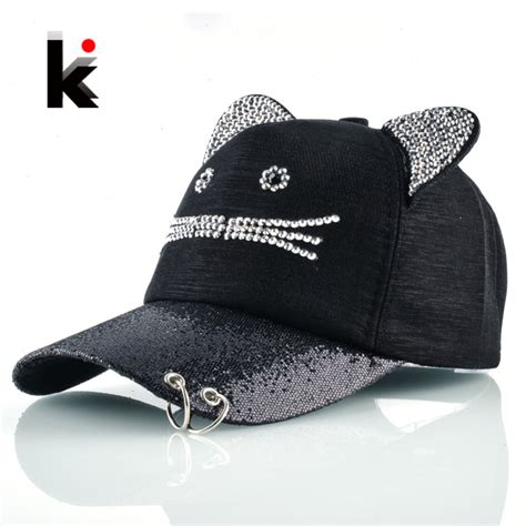 cat hip hop baseball cap rhinestone baseball cap with cat ears