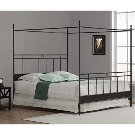 King Wrought Iron Bed Frame Simple Black Polished Iron Canopy Bed With White Bedding Set Combined With White Shade Table