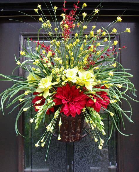 Summer Door Wreath Wall Floral Arrangement Grassy Flower Front Door Flower Arrangements
