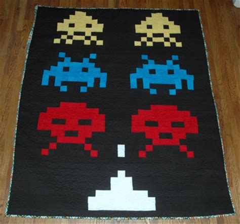 Space Invaders Duvet space invaders quilt and rock band comforter crafts