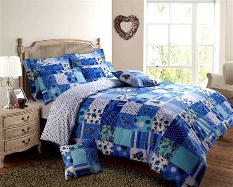 Patchwork Duvet - blue turquoise colour patchwork design reversible