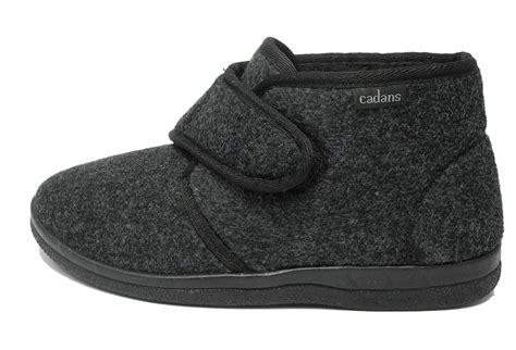 fleece boot slippers mens sturdy thick felt fleece lined velcro boots bootie