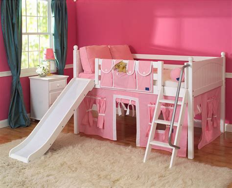 playhouse loft bed w slide by maxtrix pink white on