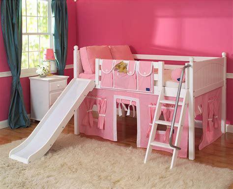 slide bed playhouse low loft bed w slide by maxtrix kids pink