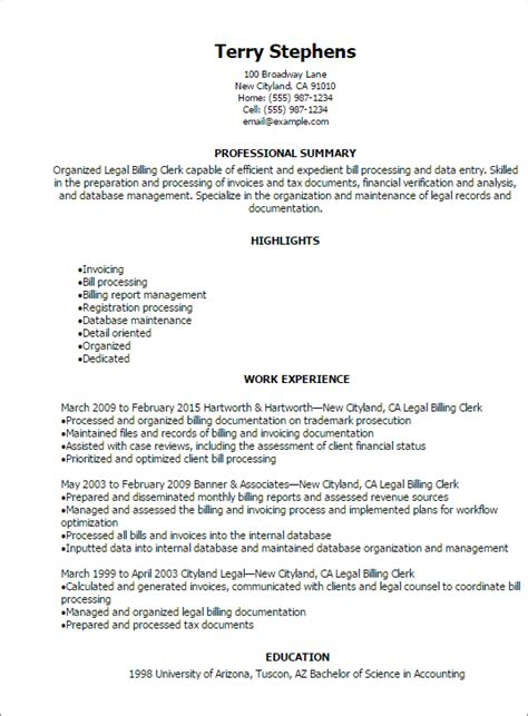 Professional Summary For Clerical Resume Billing Clerk Resume Professional Summary