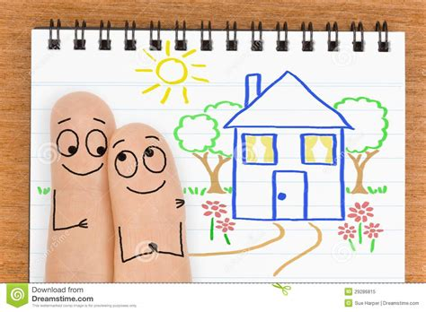 want to buy house happy finger face couple want to buy a new house stock image image 29286815
