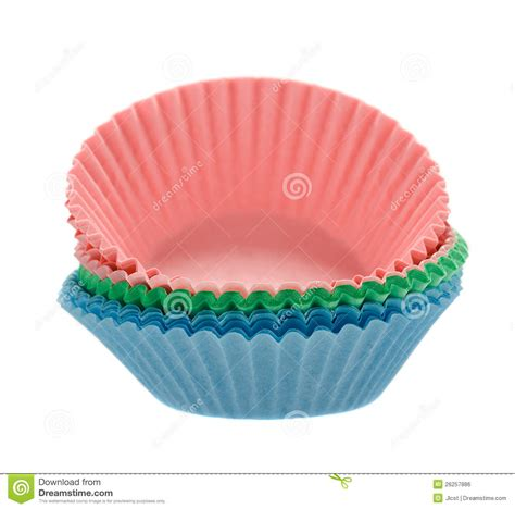 How To Make Baking Paper Muffin Cases - coloured cupcake baking paper cases on white stock photo