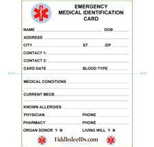 emergency id card template free printable id cards id wallet size