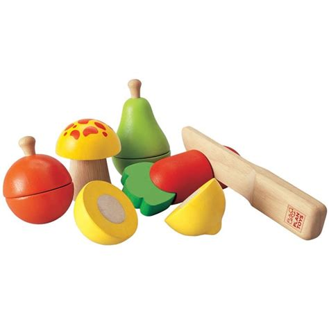 plan toys wooden fruit  vegetable playset