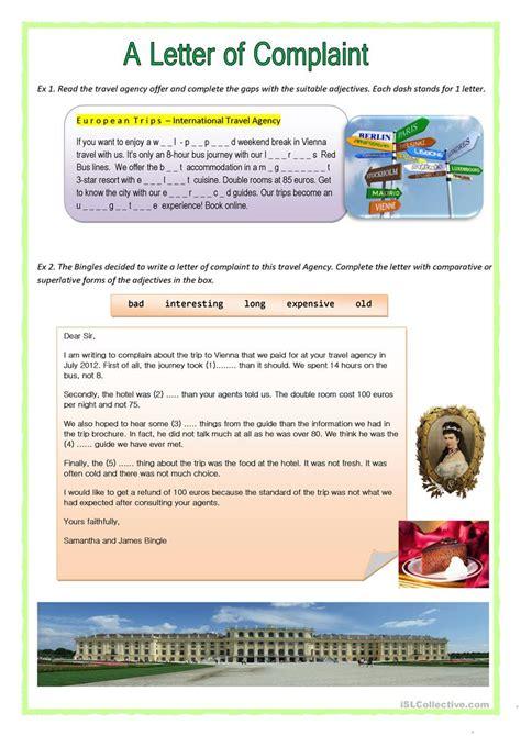 Complaint Letter Exercises Pdf a letter of complaint worksheet free esl printable