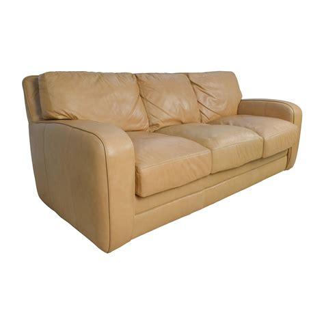 78 Off Beige Three Seat Leather Sofa Sofas Beige Leather Sofas