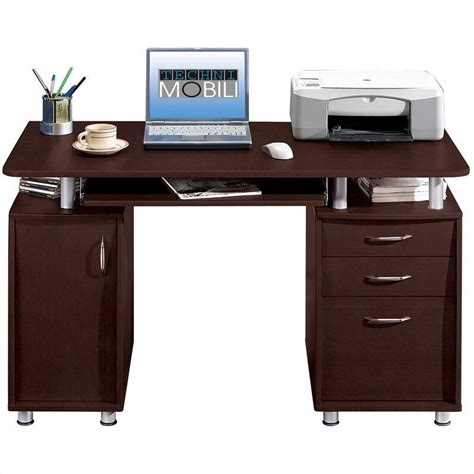 Techni Mobili Super Storage Chocolate Finish Computer Desk Laptop Desk With Storage